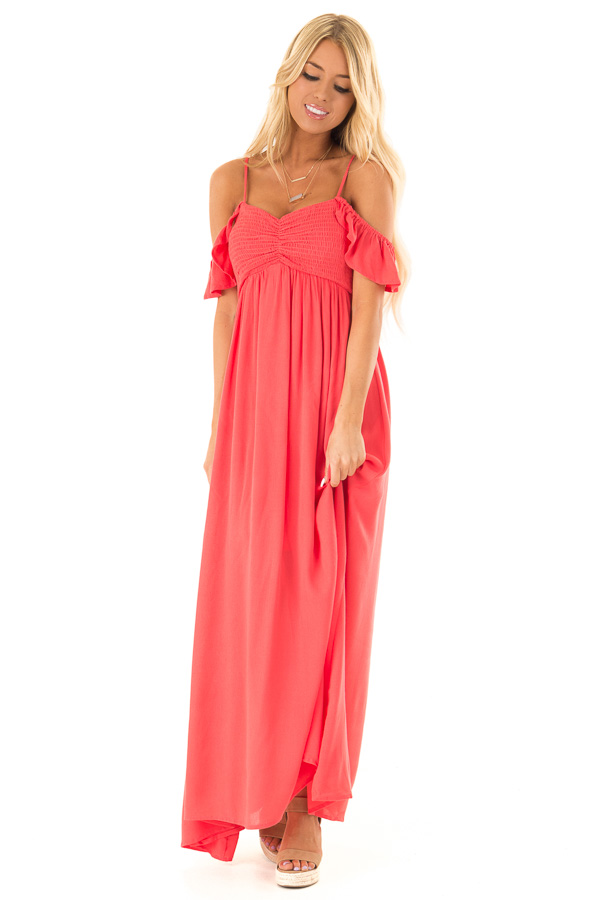 Coral Cold Shoulder Maxi Dress with Smocked Bust front full body