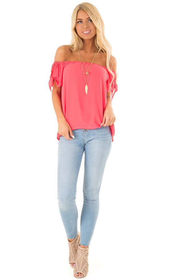 c38e2ea980c Punch Pink Off the Shoulder Short Sleeve Top with Tie Detail front full body