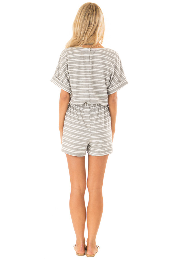 Cloud Grey and White Striped Romper with Waist Tie back full body
