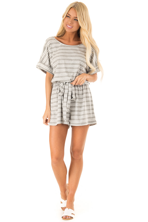Cloud Grey and White Striped Romper with Waist Tie front full body