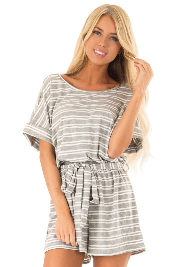 Cloud Grey and White Striped Romper with Waist Tie front close up