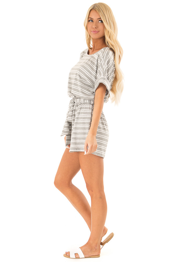 Cloud Grey and White Striped Romper with Waist Tie side full body