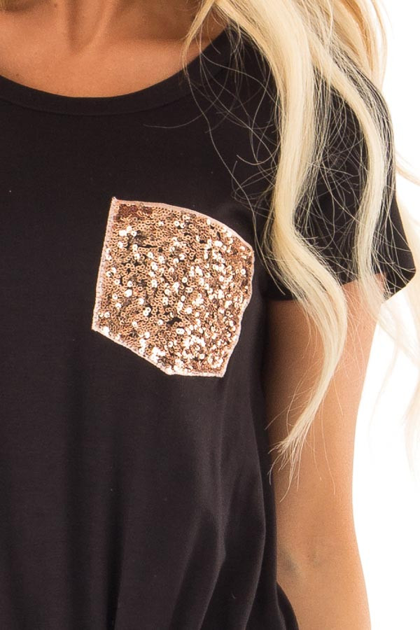 Black Top with Front Twist and Sequin Pocket detail
