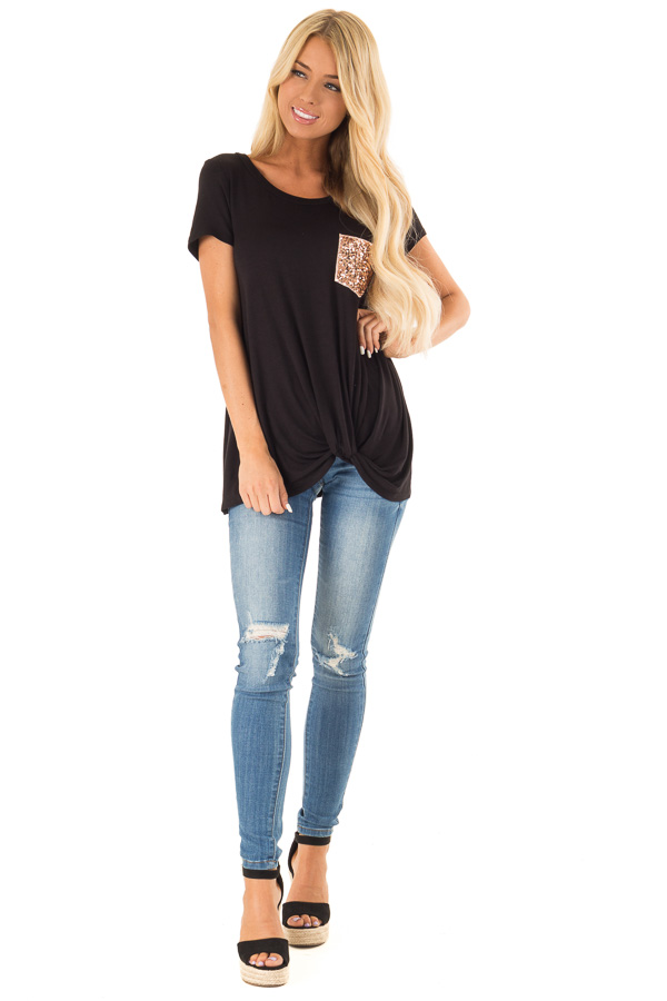 Black Top with Front Twist and Sequin Pocket front full body