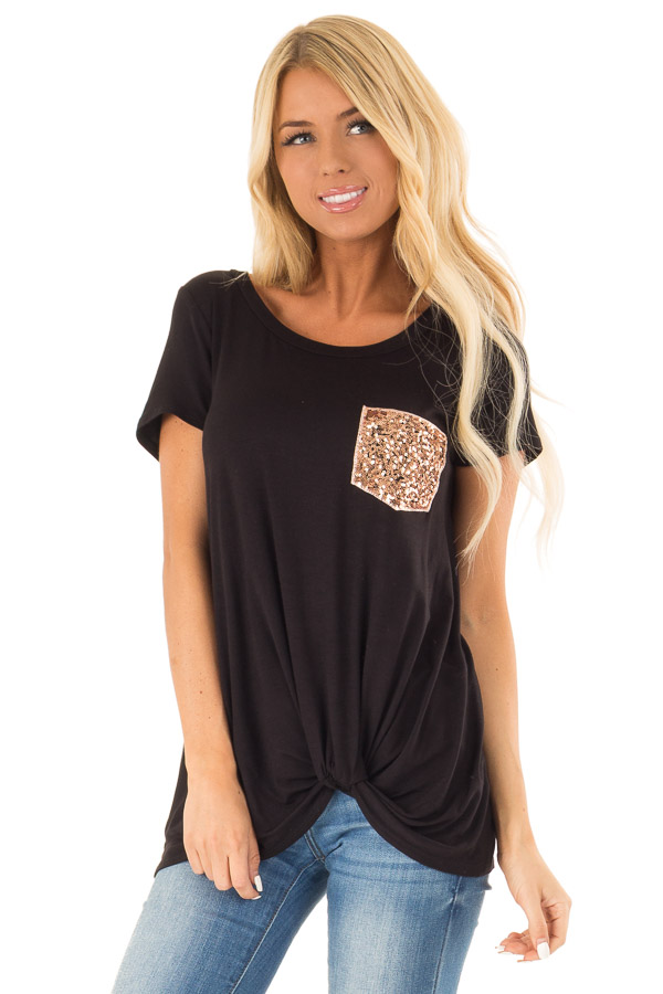 Black Top with Front Twist and Sequin Pocket front close up