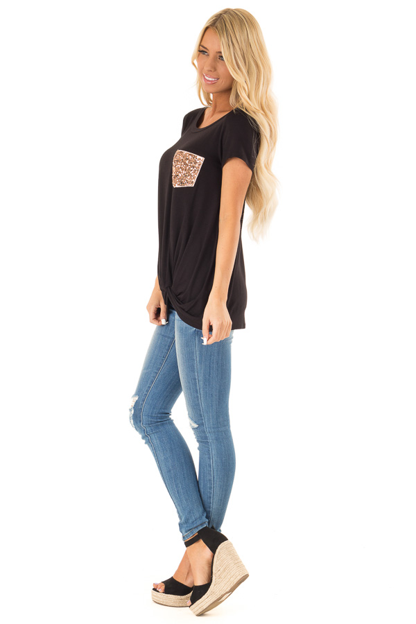 Black Top with Front Twist and Sequin Pocket side full body