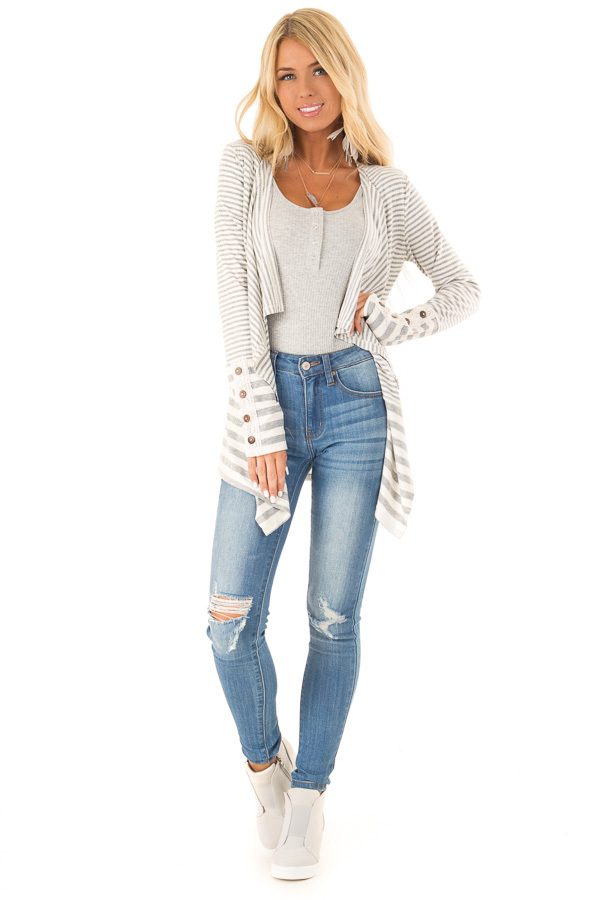 Heather Grey and Ivory Striped Open Front Cardigan front full body