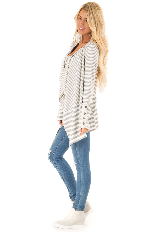 Heather Grey and Ivory Striped Open Front Cardigan side full body
