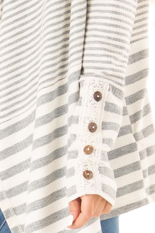 Heather Grey and Ivory Striped Open Front Cardigan detail