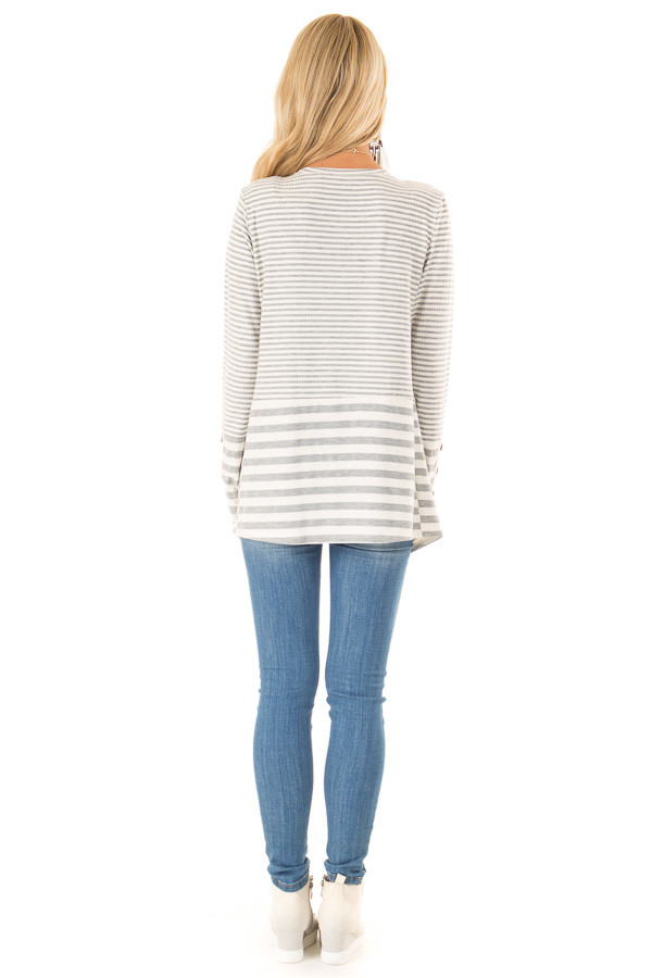 Heather Grey and Ivory Striped Open Front Cardigan back full body