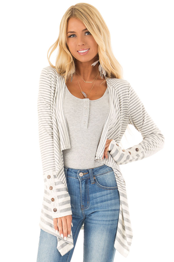 Heather Grey and Ivory Striped Open Front Cardigan front close up