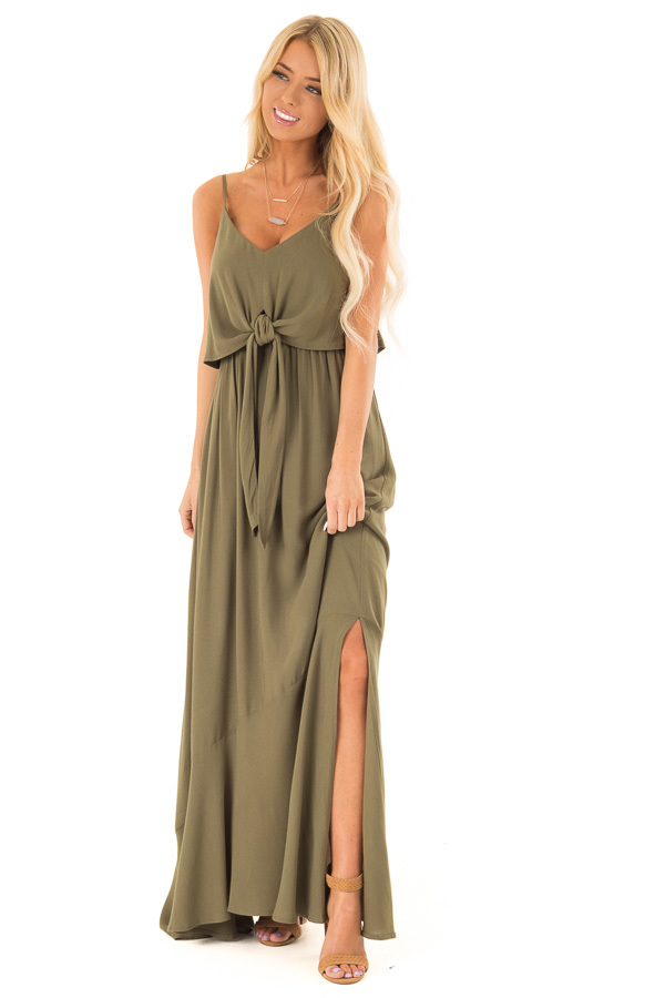 Olive Maxi Dress with Front Tie and Side Slit front full body