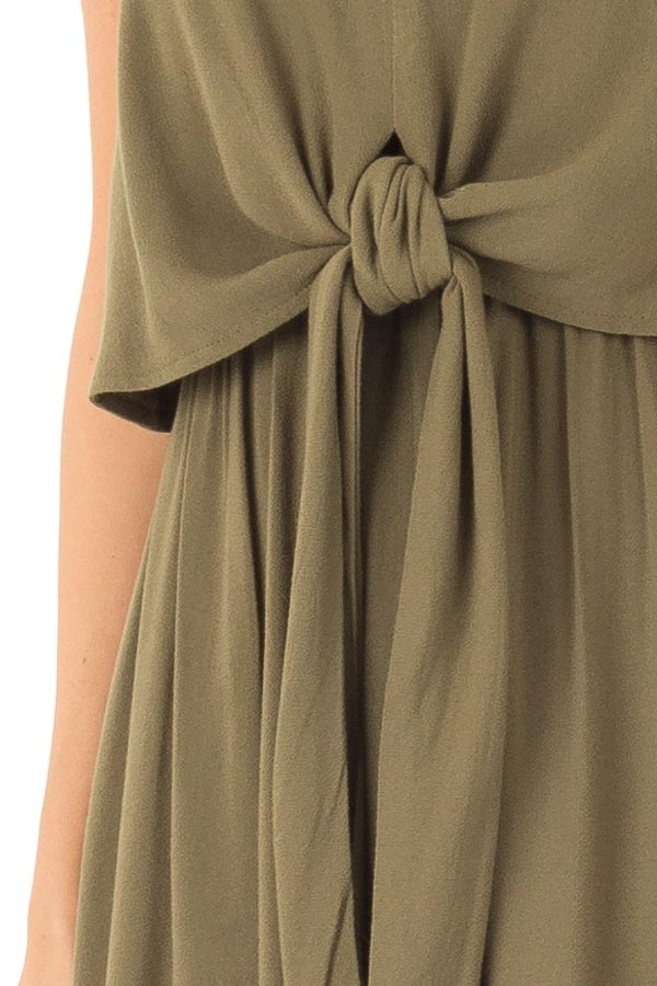 Olive Maxi Dress with Front Tie and Side Slit detail