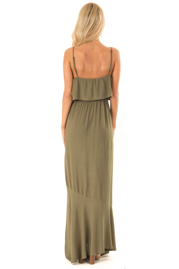 Olive Maxi Dress with Front Tie and Side Slit back full body