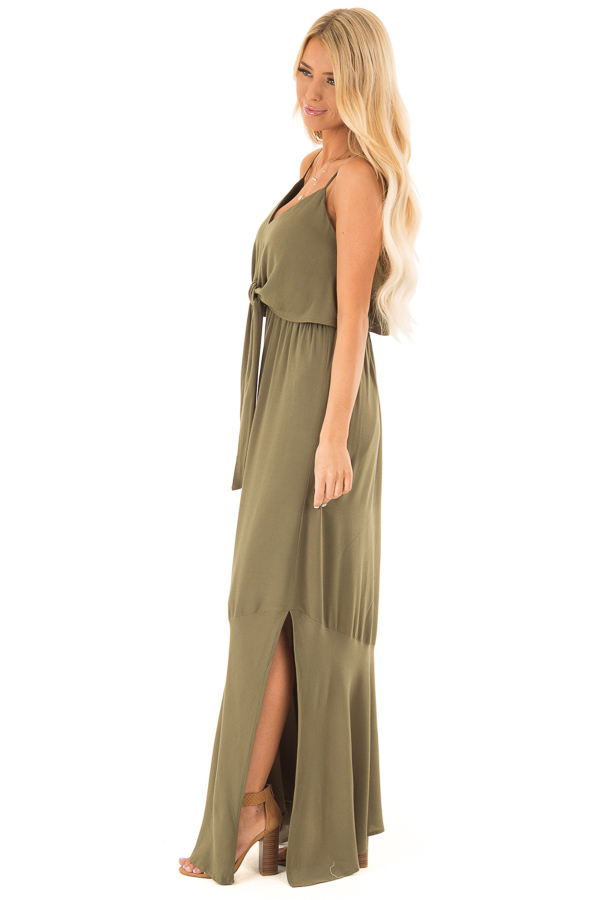 Olive Maxi Dress with Front Tie and Side Slit side full body