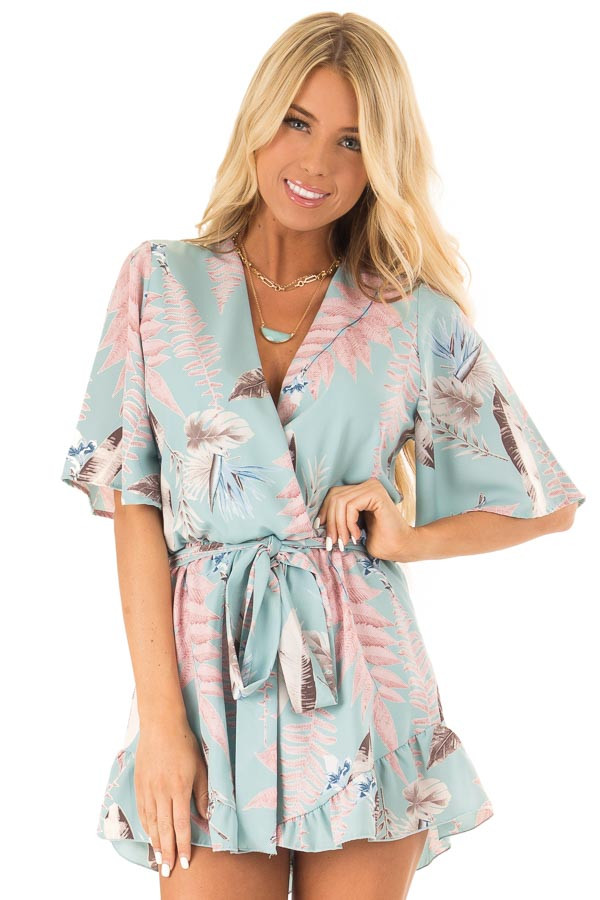 Cotton Candy Blue Surplice Half Sleeve Romper with Waist Tie front close up