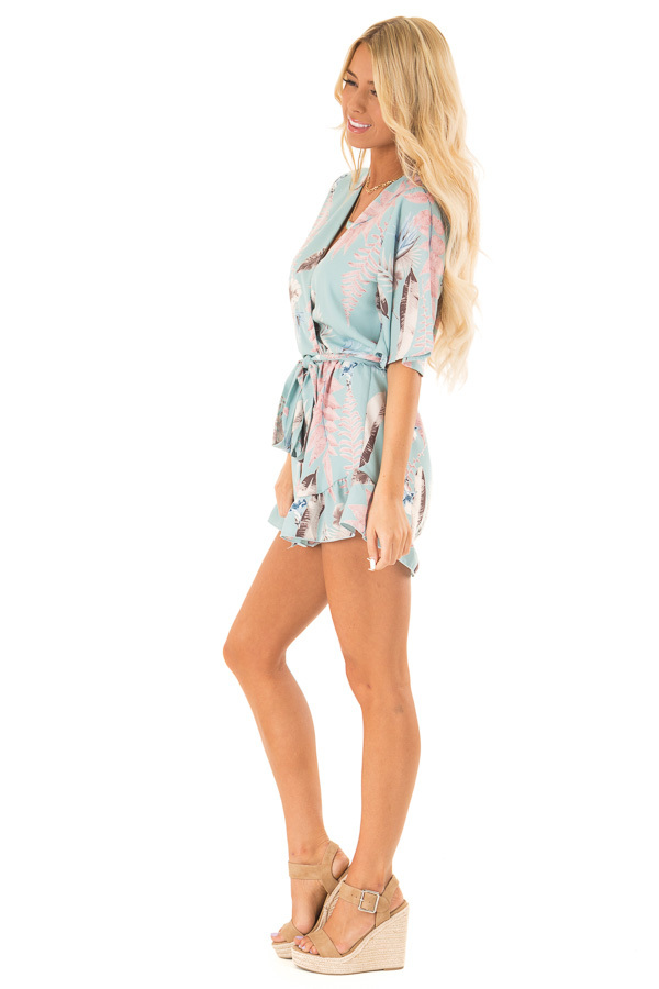 Cotton Candy Blue Surplice Half Sleeve Romper with Waist Tie side full body