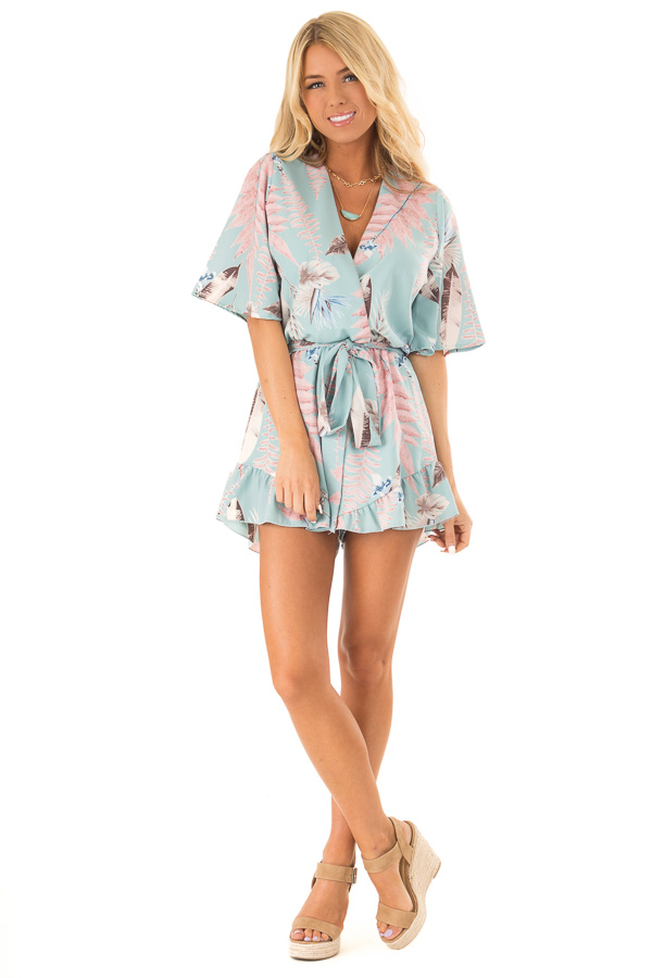 Cotton Candy Blue Surplice Half Sleeve Romper with Waist Tie front full body