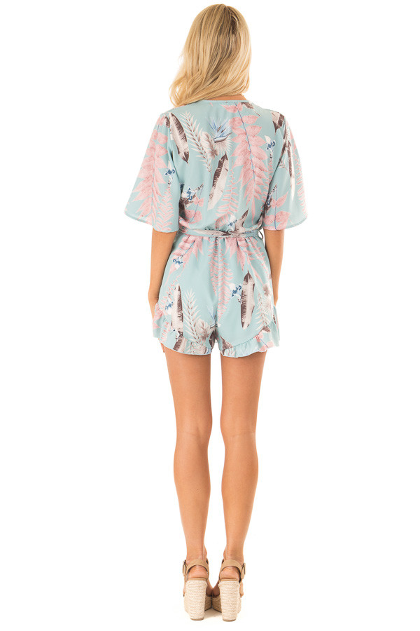 Cotton Candy Blue Surplice Half Sleeve Romper with Waist Tie back full body