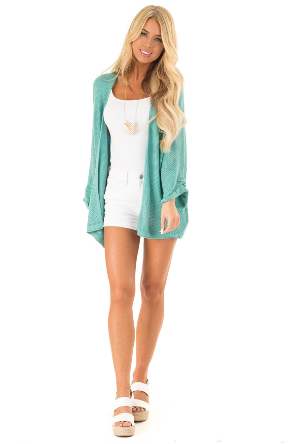 Aqua Textured Open Front Cardigan with 3/4 Sleeves front full body