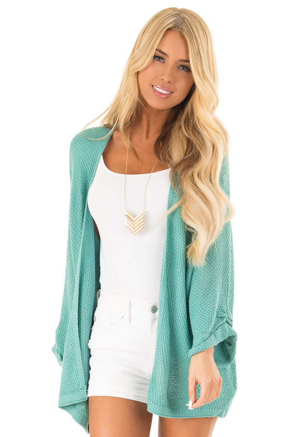Aqua Textured Open Front Cardigan with 3/4 Sleeves front close up