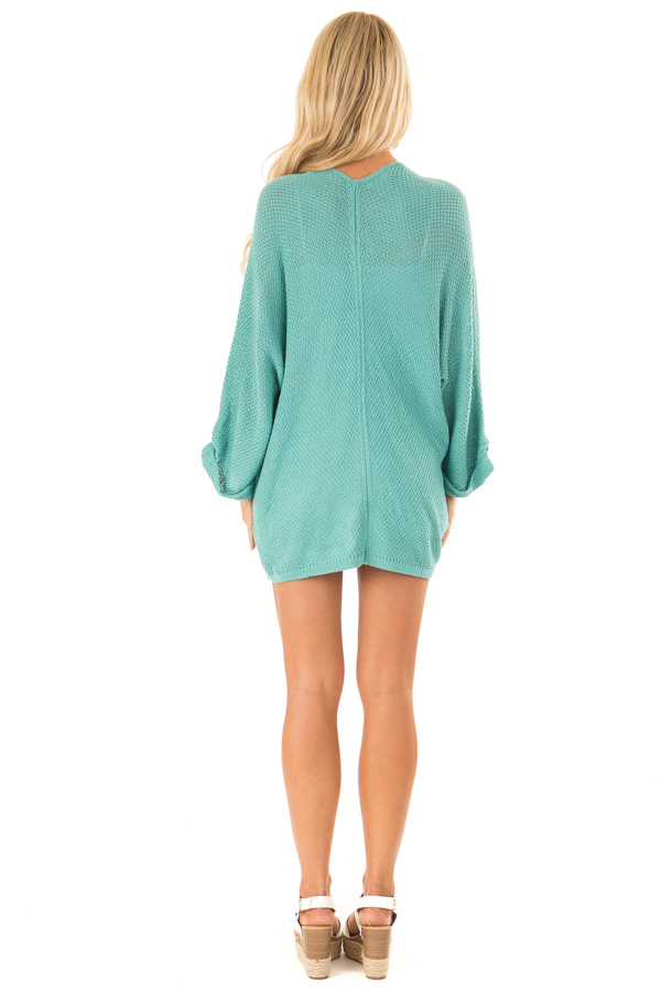 Aqua Textured Open Front Cardigan with 3/4 Sleeves back full body