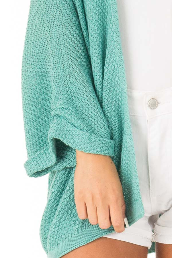 Aqua Textured Open Front Cardigan with 3/4 Sleeves detail
