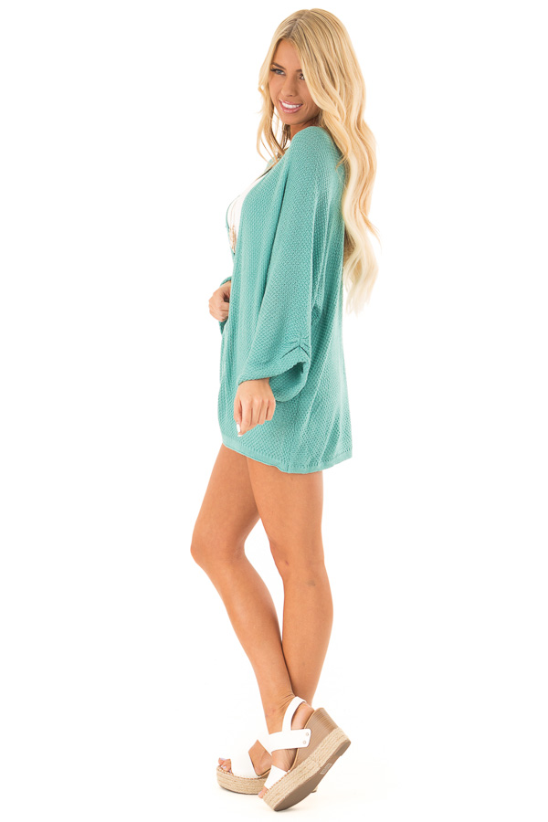 Aqua Textured Open Front Cardigan with 3/4 Sleeves side full body