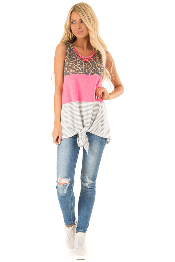 Electric Pink Color Block Tank Top with Criss Cross Neckline front full body