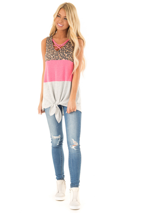 b1680c60436 Electric Pink Color Block Tank Top with Criss Cross Neckline front full body