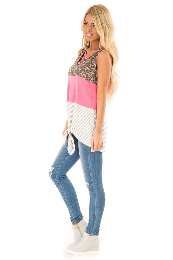 Electric Pink Color Block Tank Top with Criss Cross Neckline side full body