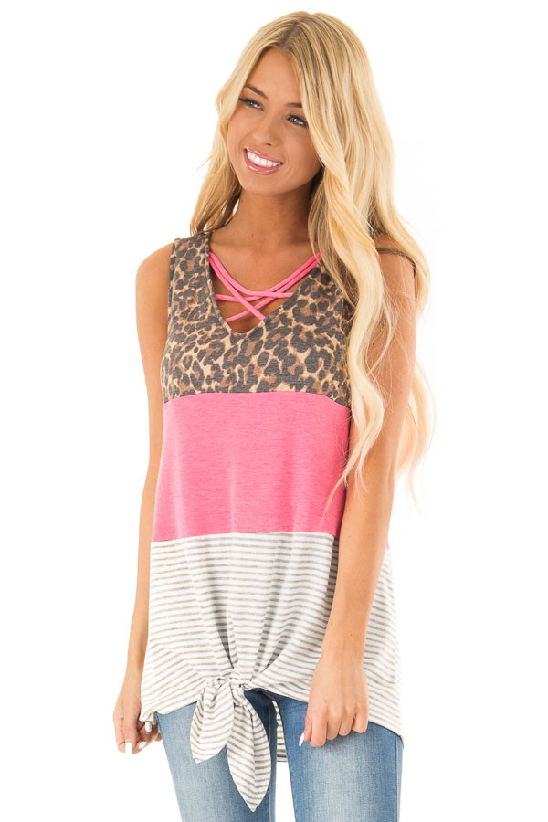 Electric Pink Color Block Tank Top with Criss Cross Neckline front close up