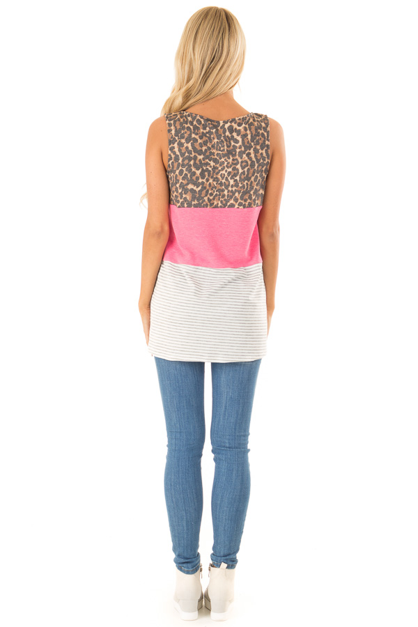 b0cd8720f6d Electric Pink Color Block Tank Top with Criss Cross Neckline back full body