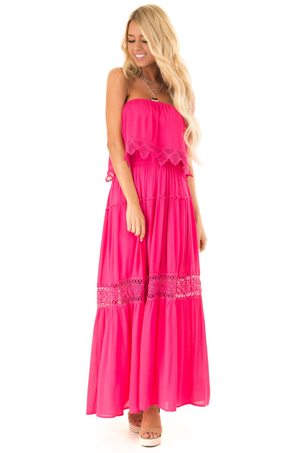 b9fbd547cc6 Hot Pink Strapless Maxi Dress with Crochet Lace Details front full body