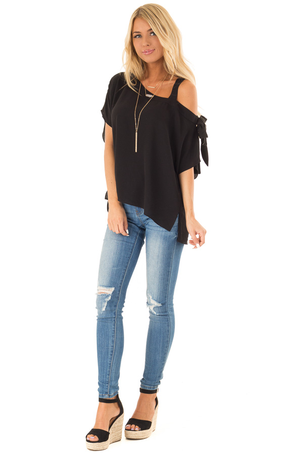 3a07057297a Obsidian Black Shoulder Strap Top with Side Sleeve Tie front full body
