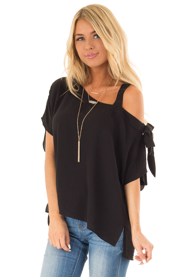 ddbdbdf8d8f Obsidian Black Shoulder Strap Top with Side Sleeve Tie front close up