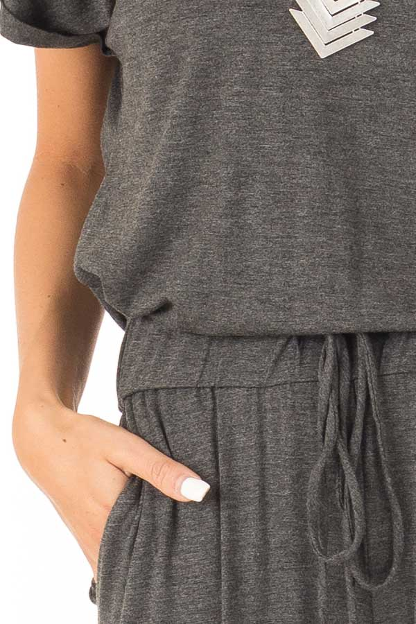 Charcoal V Neck Short Sleeve Jumpsuit with Pockets detail