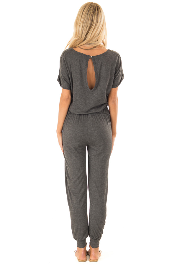 Charcoal V Neck Short Sleeve Jumpsuit with Pockets back full body