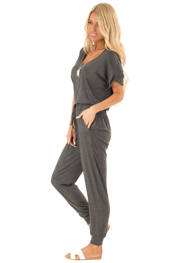 Charcoal V Neck Short Sleeve Jumpsuit with Pockets side full body