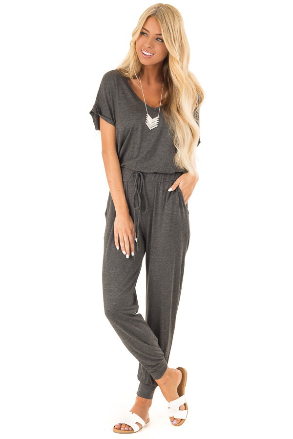 Charcoal V Neck Short Sleeve Jumpsuit with Pockets front full body