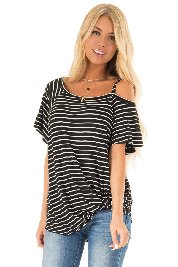 Black and Ivory Striped One Cold Shoulder Top with Front Tie front close up