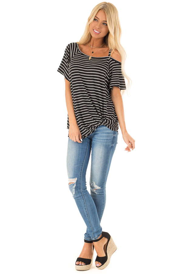 Black and Ivory Striped One Cold Shoulder Top with Front Tie front full body
