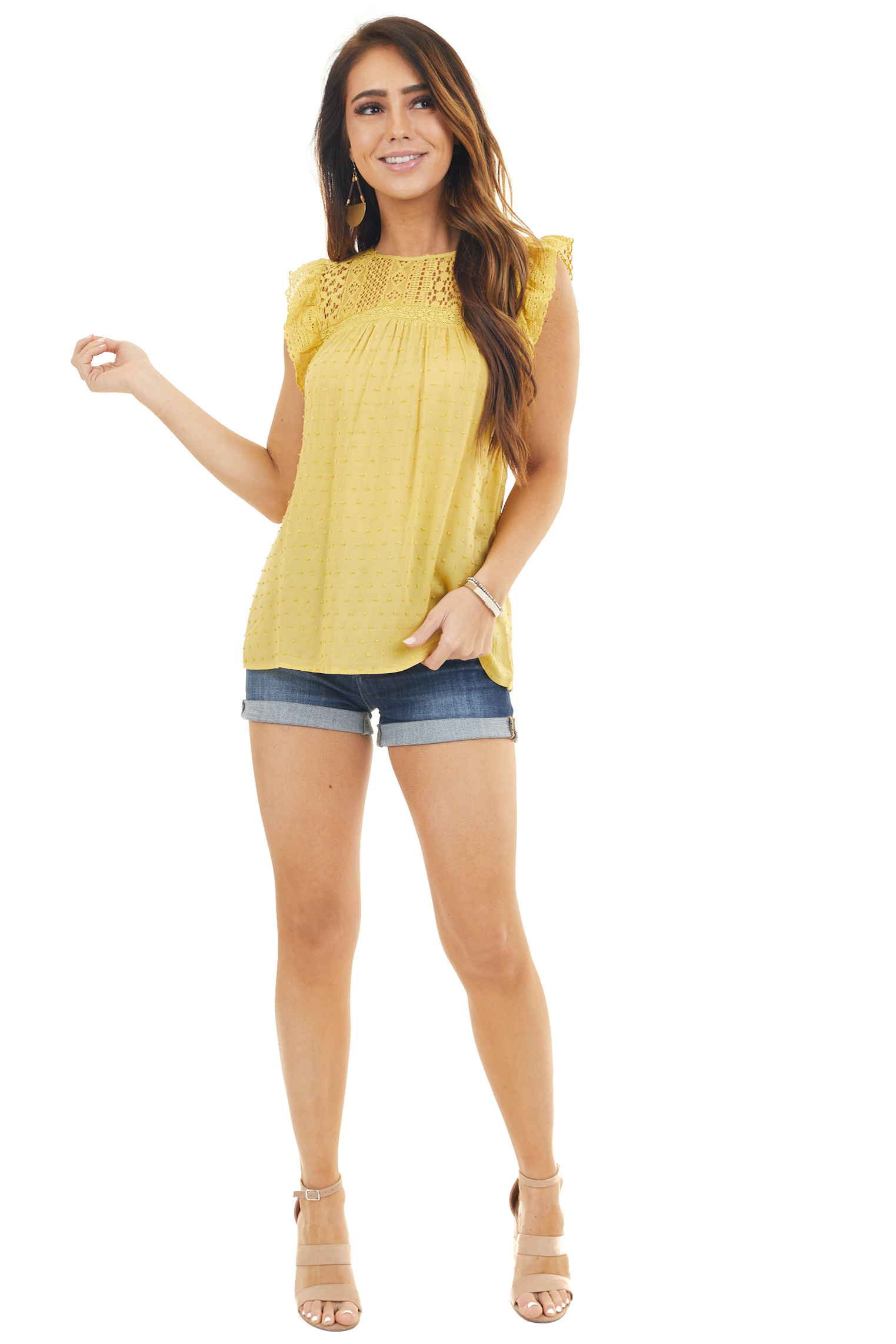Mustard Babydoll Top with Sheer Lace Yoke and Swiss Dots