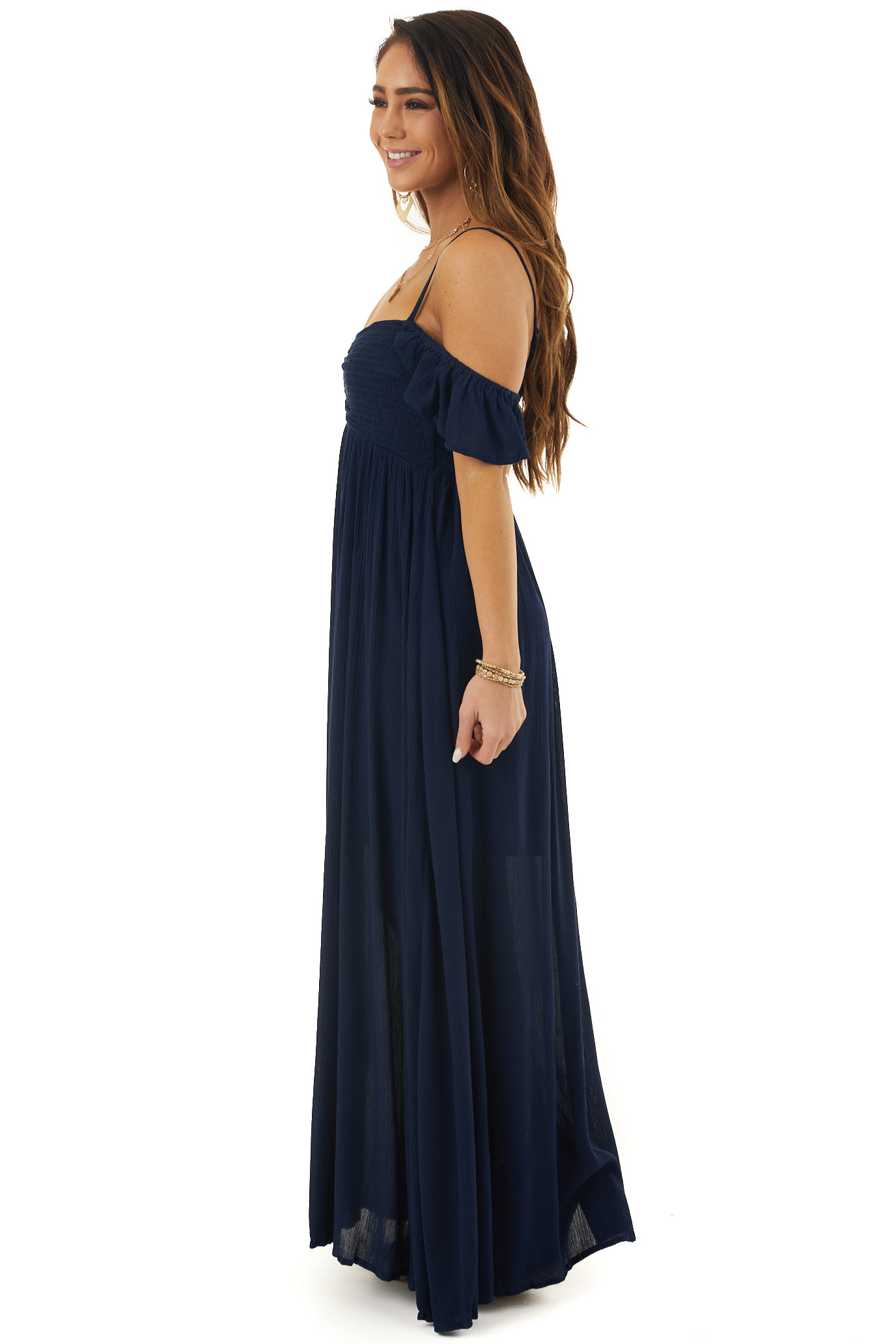 Navy Cold Shoulder Maxi Dress with Smocked Bust