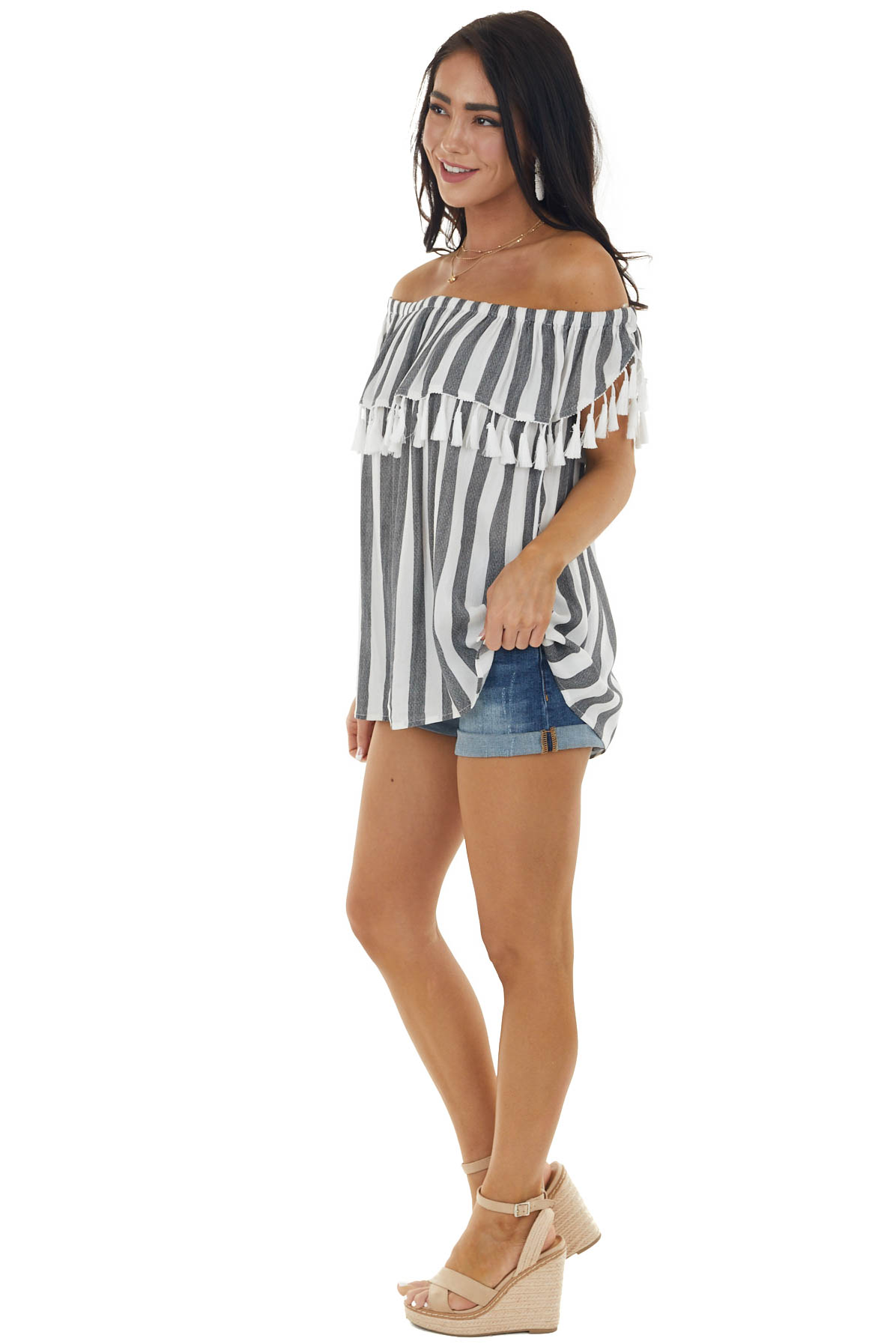 Pearl and Charcoal Striped Off Shoulder Top with Tassel Trim