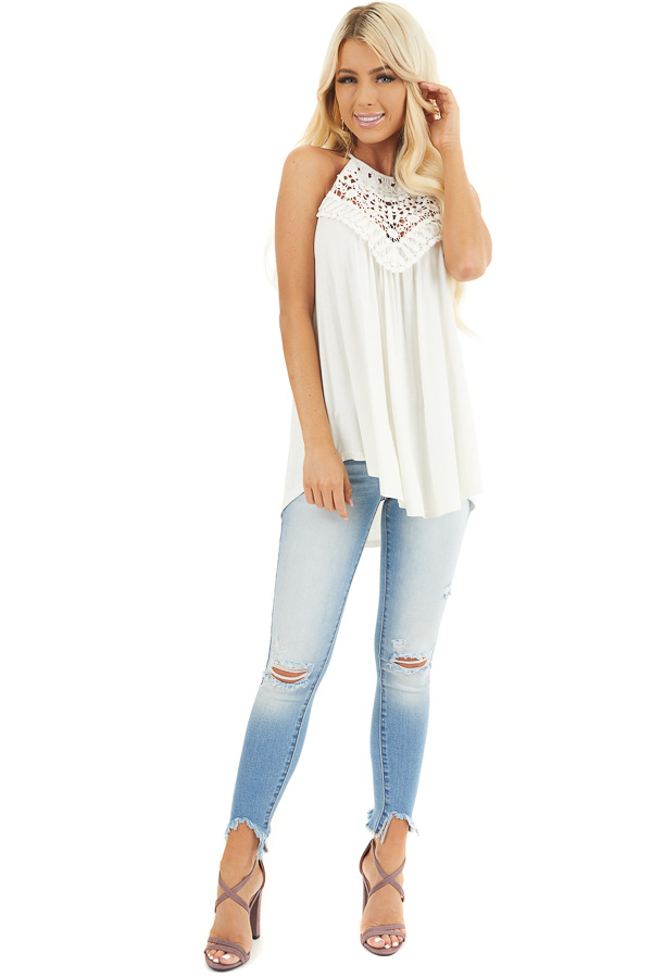 Coconut White Tank Top with Sheer Lace Chest front full body