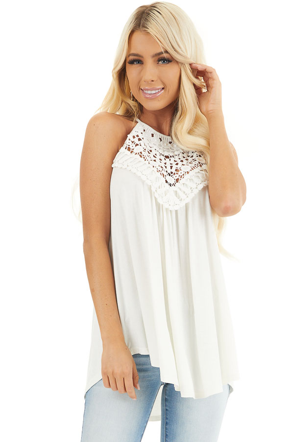 Coconut White Tank Top with Sheer Lace Chest front close up