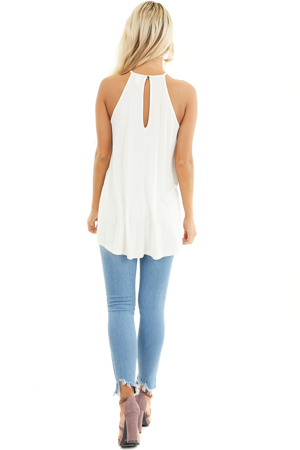 Coconut White Tank Top with Sheer Lace Chest back full body
