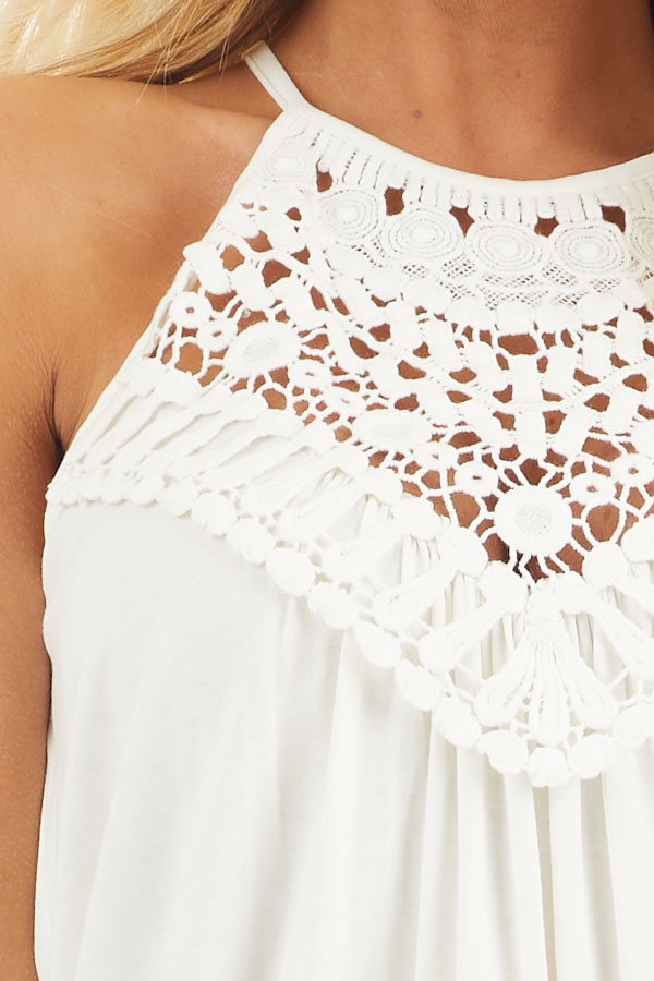 Coconut White Tank Top with Sheer Lace Chest detail