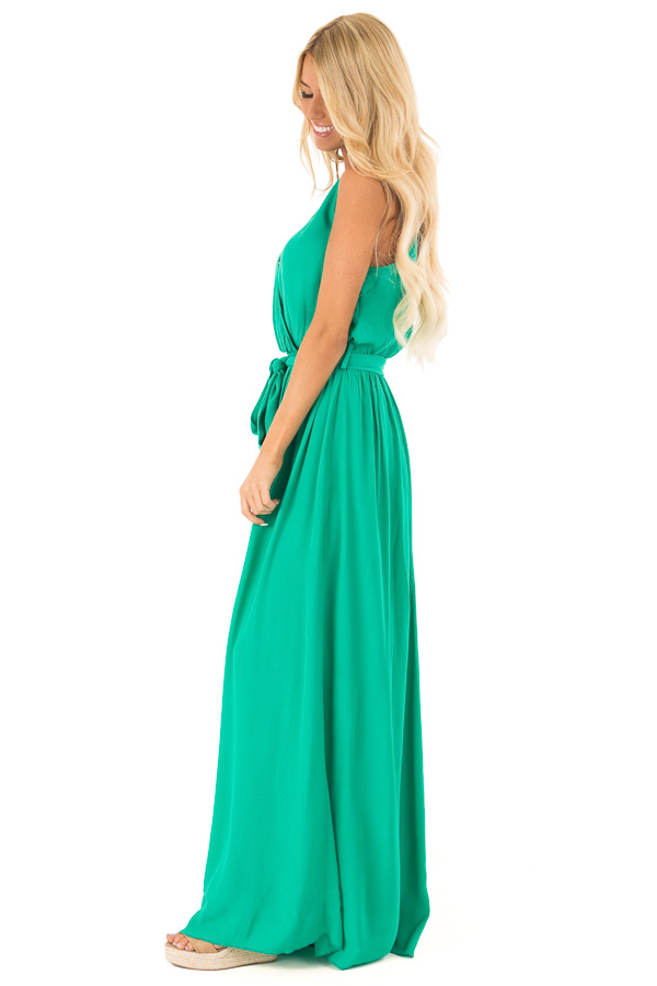 Kelly Green Surplice Sleeveless Maxi Dress with Front Tie side full body